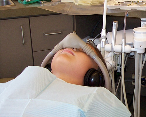 Child with nitrous oxide nasal mask